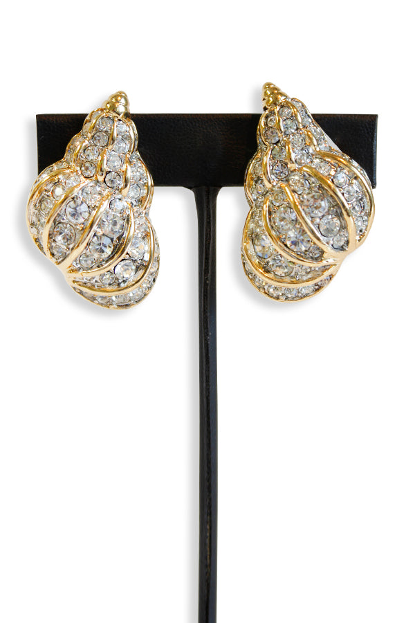 Kenneth Jay Lane Crystal Pave' Shell Clip Earring