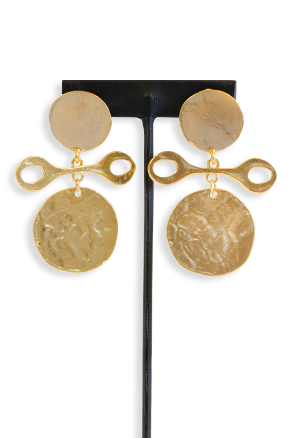 Kenneth Jay Lane Satin Gold Coin Drop Clip Earring