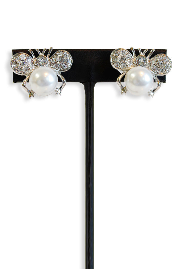 Kenneth Jay Lane Crystal Pearl Bee Clip Earring