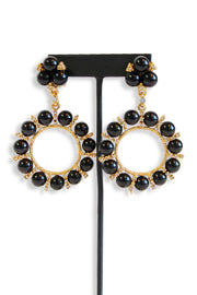 Kenneth Jay Lane Antique Gold With Rhinestone Clip Earring - available in two colors