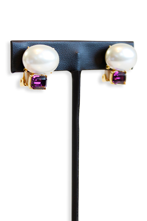 Kenneth Jay Lane Gold And White Pearl Top Amethyst Bottom Clip Earring