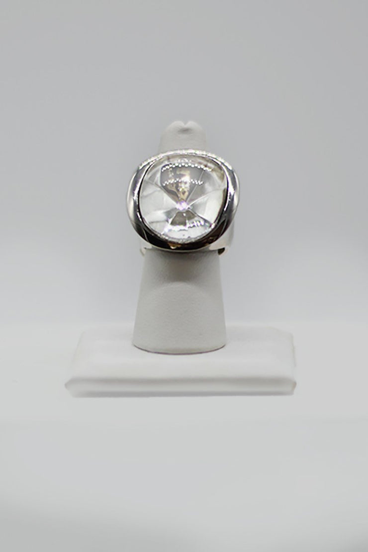 Kenneth Jay Lane Crystal Cab Ring - available in gold and silver