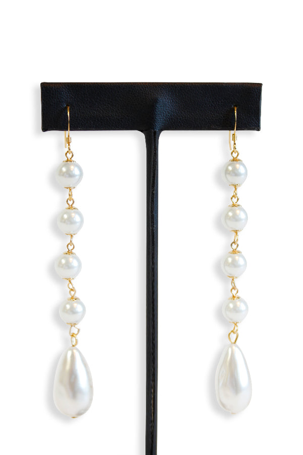 Kenneth Jay Lane Gold Multi Pearl Drop Fishhook Earring