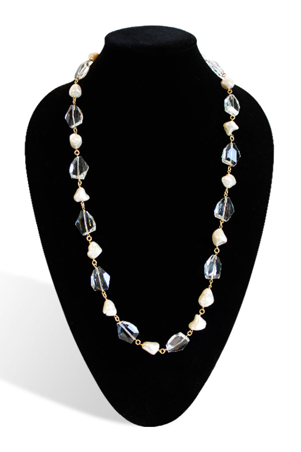 Kenneth Jay Lane Gold Chain With Rock Crystal and Pearl Necklace