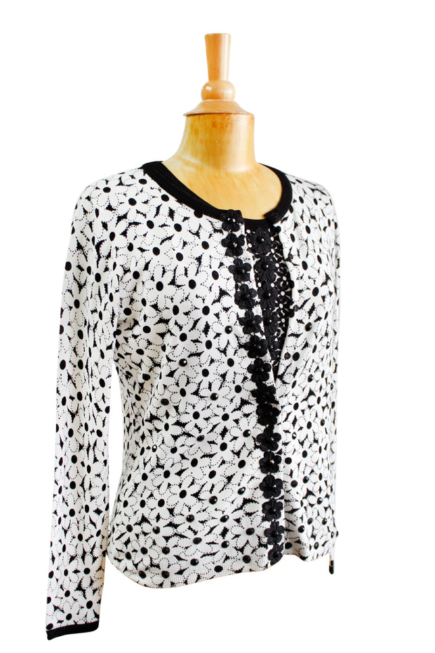 Cardigan Sweater Set in Black & White Floral