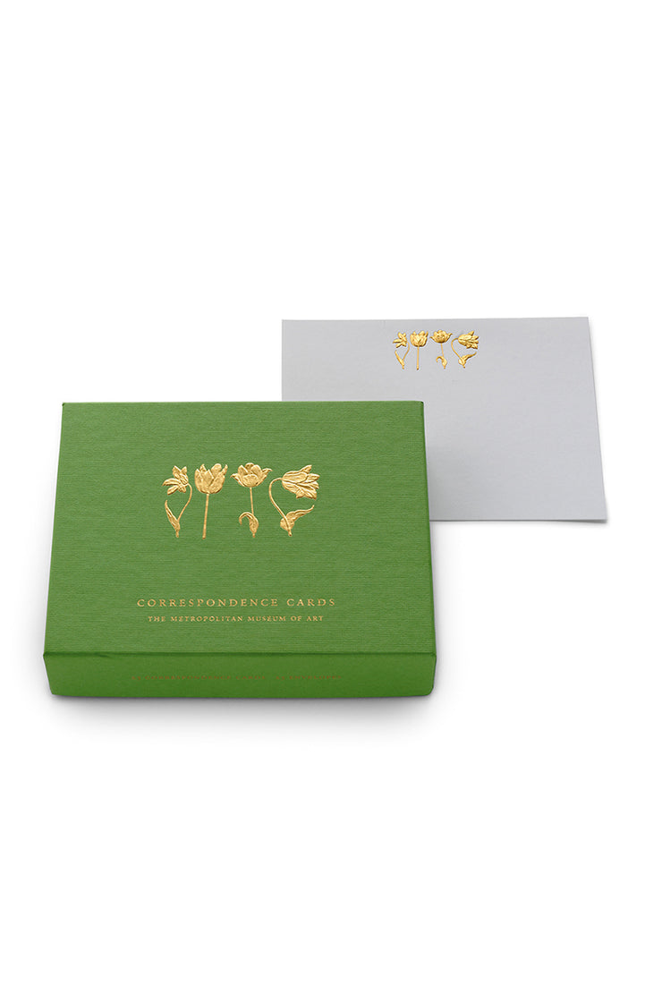 Gold Embossed Tulips Correspondence Cards