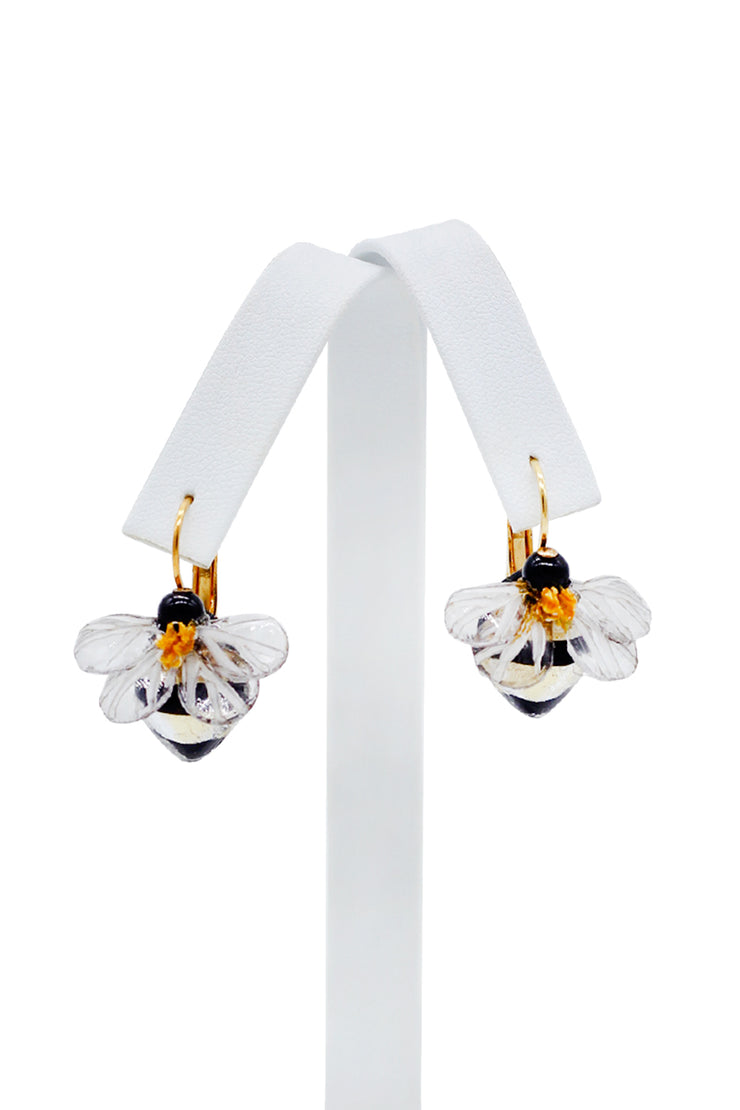 French Petite Bee Pierced Earrings