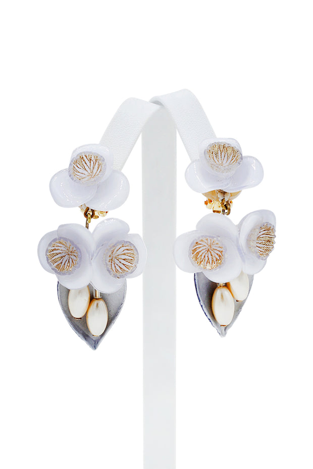 French Givre Large Drop Clip Earring - available in multiple colors