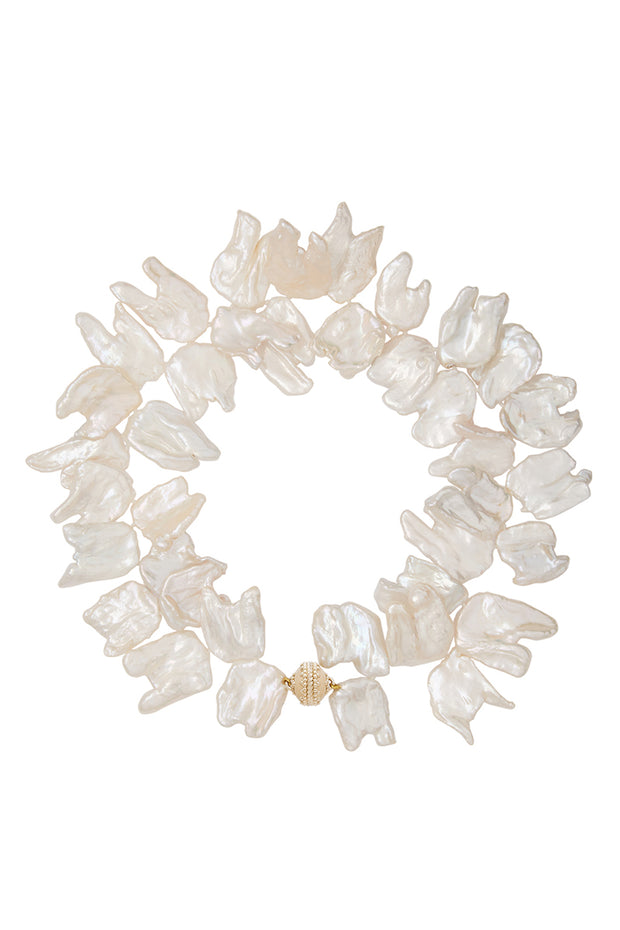 Clara Williams White Freshwater Keshi Pearl Necklace