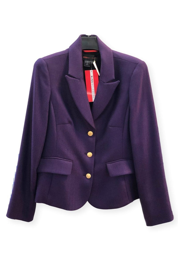 Purple Merino Wool Herringbone Blazer