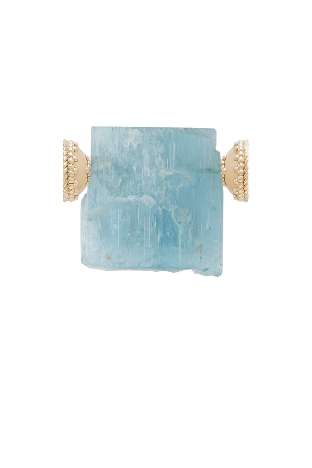 Clara Williams Aquamarine Rough Rectangle Centerpiece