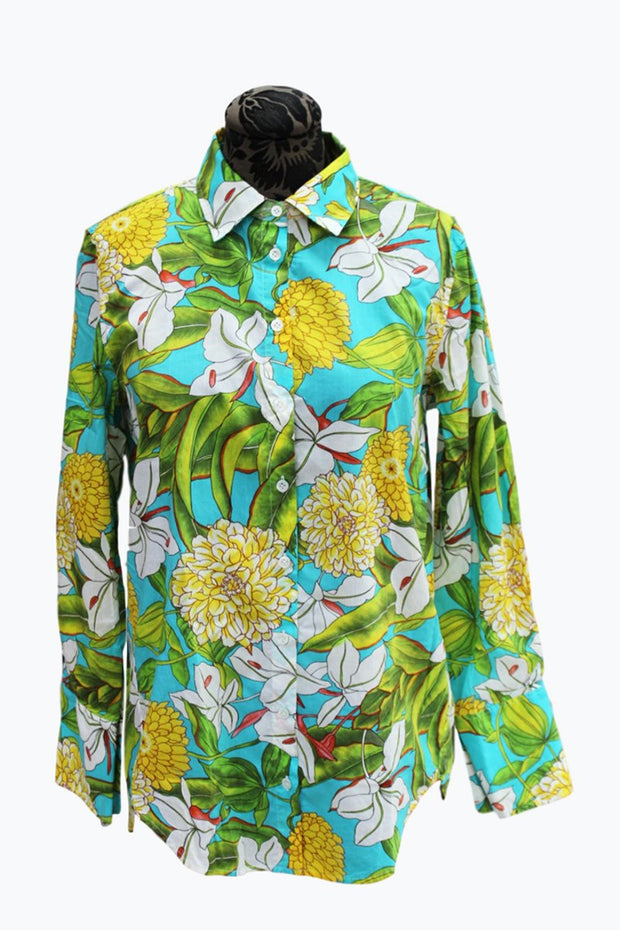 Teal & Yellow Lily Blouse