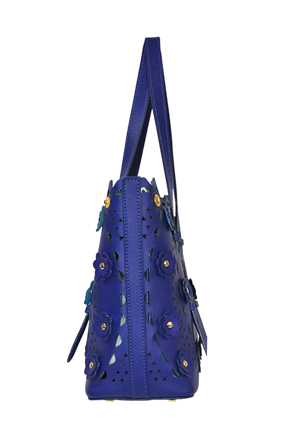 Italian Leather Floral Eyelet Tote