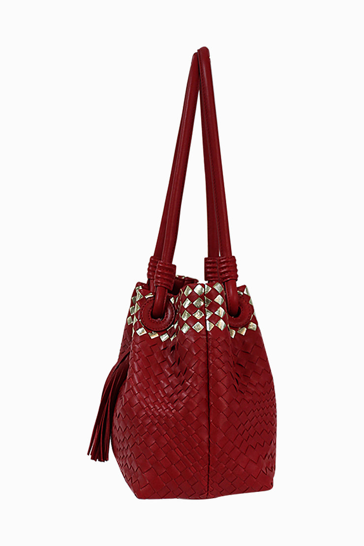 Italian Red Metallic Leather Handbag