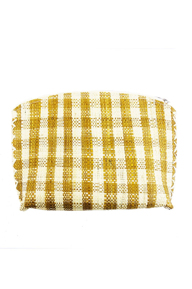 Gingham Straw Cosmetic Bag Set