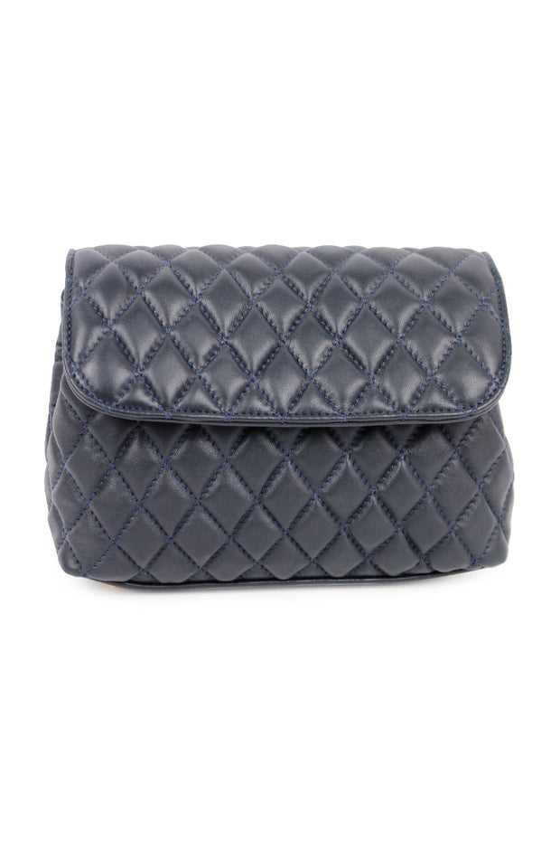 Navy Quilted Italian Leather Handbag