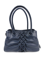 Italian Leather Handbag with Criss-Cross Detail