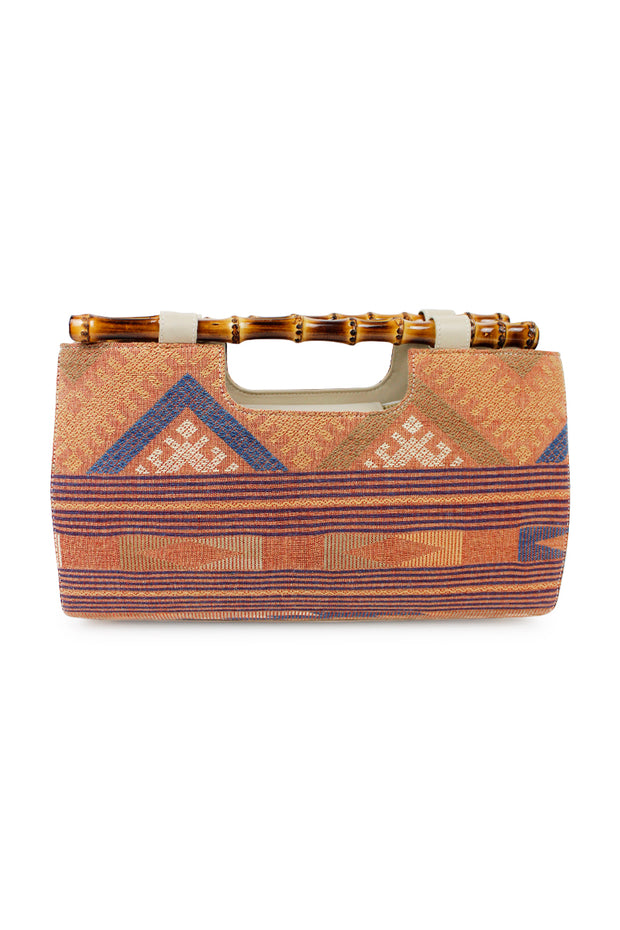 Italian Woven Clutch with Bamboo Handles