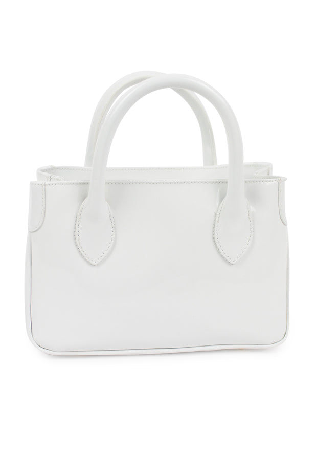 White Small Patent Leather Handbag
