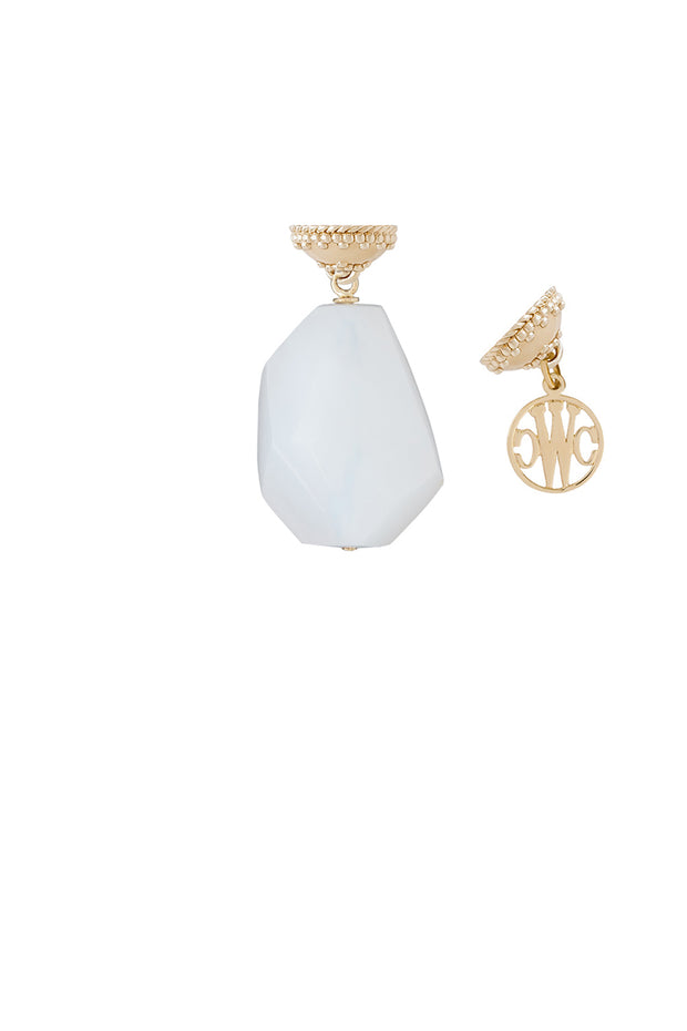 Clara Williams White Dolomite Irregular Faceted Tag