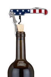 American Flag Stainless Steel Corkscrew