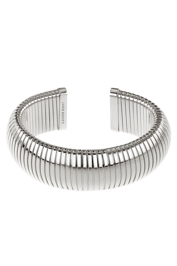 Domed Rhodium Cobra Cuff