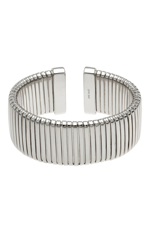 Rhodium Open Back Cobra Cuff