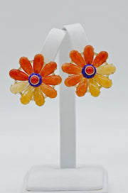 Fine Jewelry Carnelian and Lapis Flower Earrings