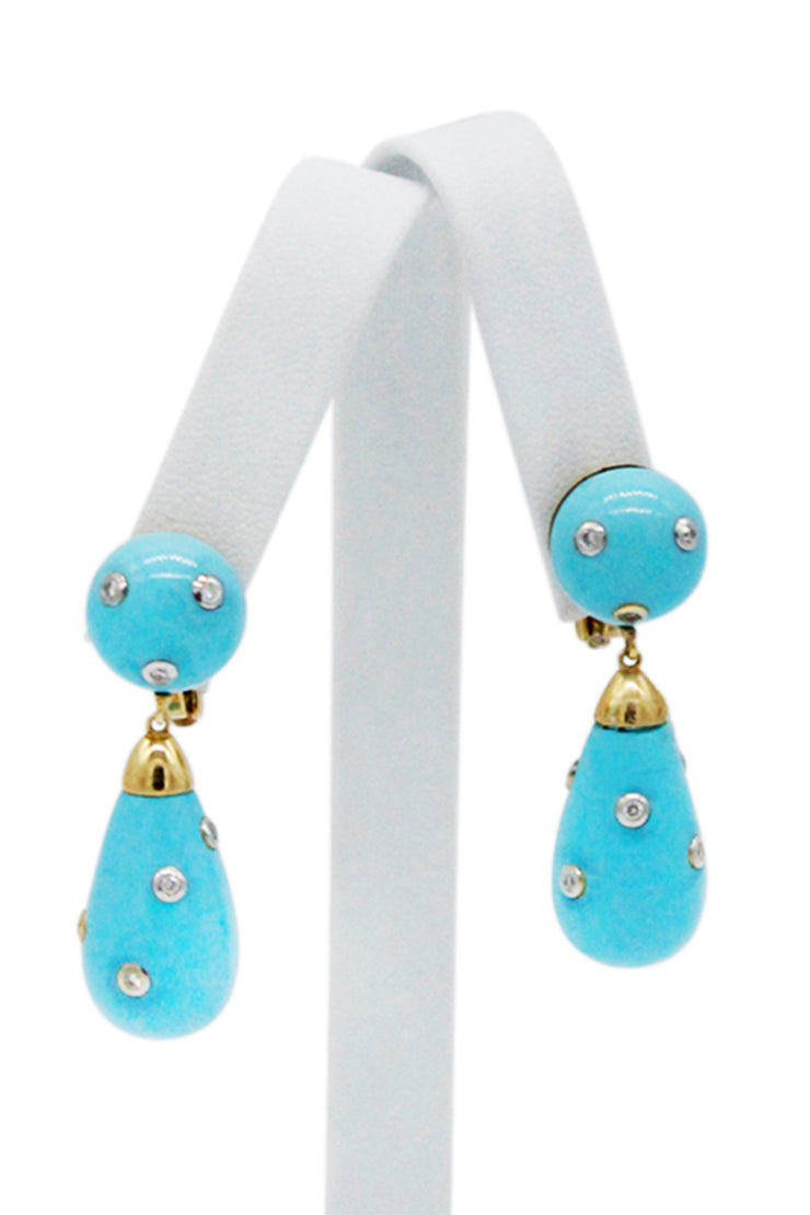 18K Gold Turquoise and Diamond Drop Earrings