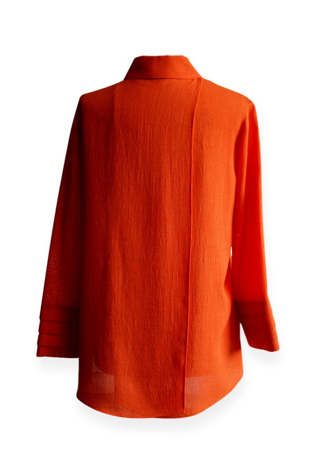Emmelle Micro Linen Button Down Top in Tangerine with Pocket