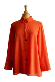 Emmelle Micro Linen Button Down Top in Tangerine