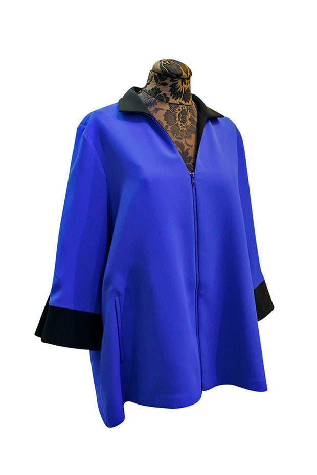 Emmelle Luxurious Crepe Zipper Jacket in Electric Blue & Black
