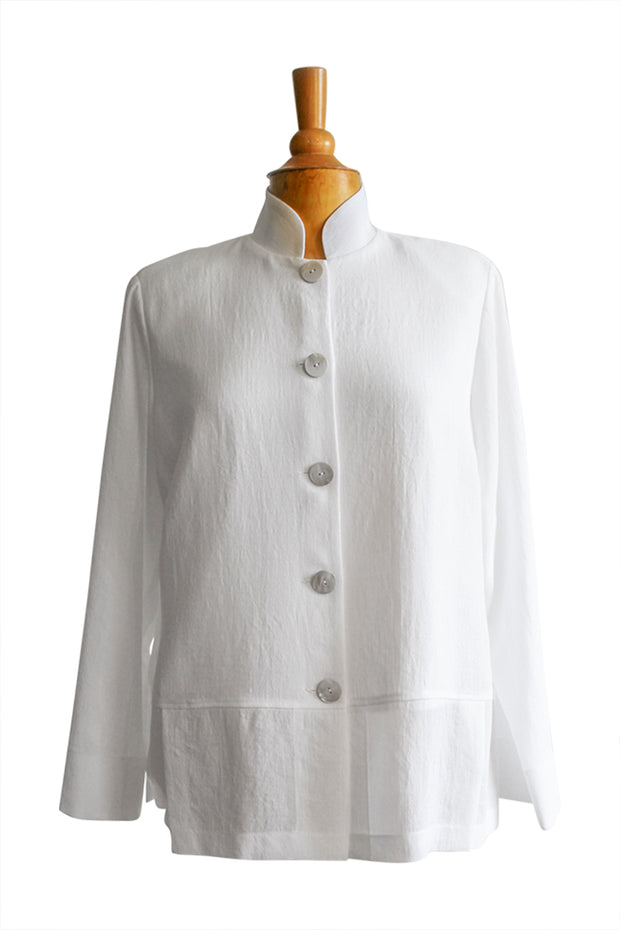 Emmelle Mandarin Collar Panel Crepe Jacket - available in two colors