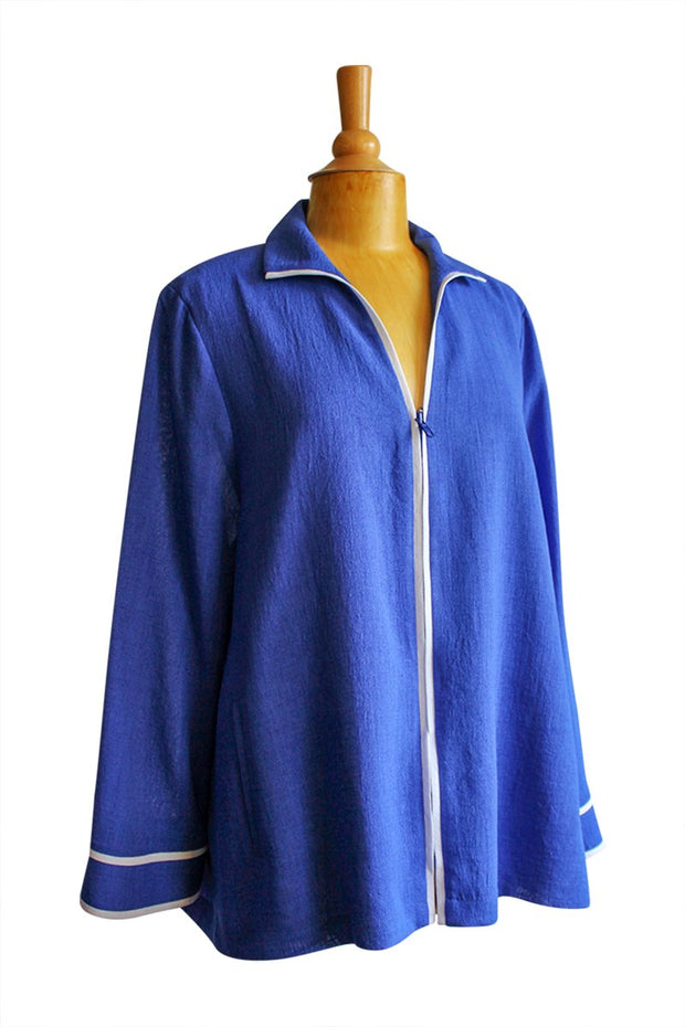 Emmelle Micro Linen Jacket in Electric Blue with White Trim