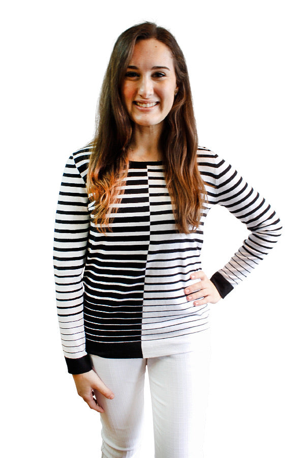 Crewneck Color Block Striped Long Sleeve Top - available in two colors