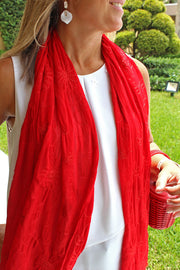 Silk Embroidered Summer Shawl available in Red & Blue