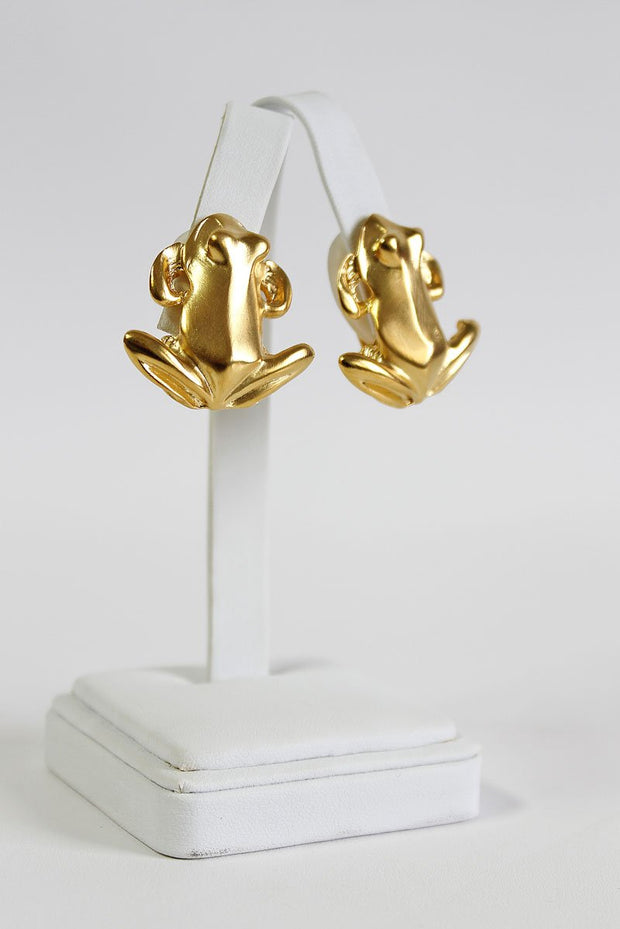 Kenneth Jay Lane Satin Gold Frog Earring