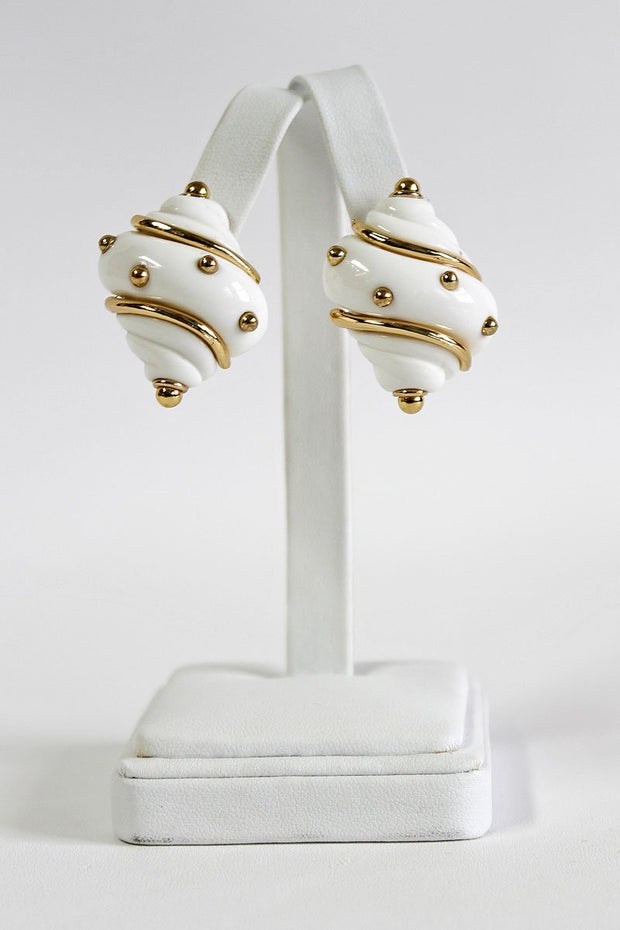 Kenneth Jay Lane White Shell With Gold Dots