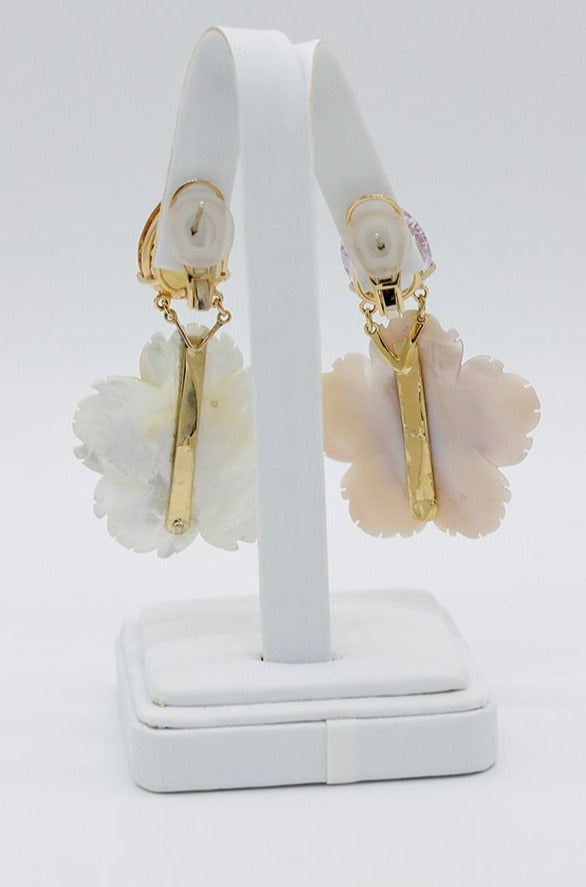 "Fine Jewelry ""Opposites Attract"" Mother of Pearl Flower Earrings"