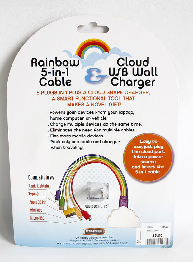 Cloud USB Wall Charger & Rainbow 5-in-1 Cable Set
