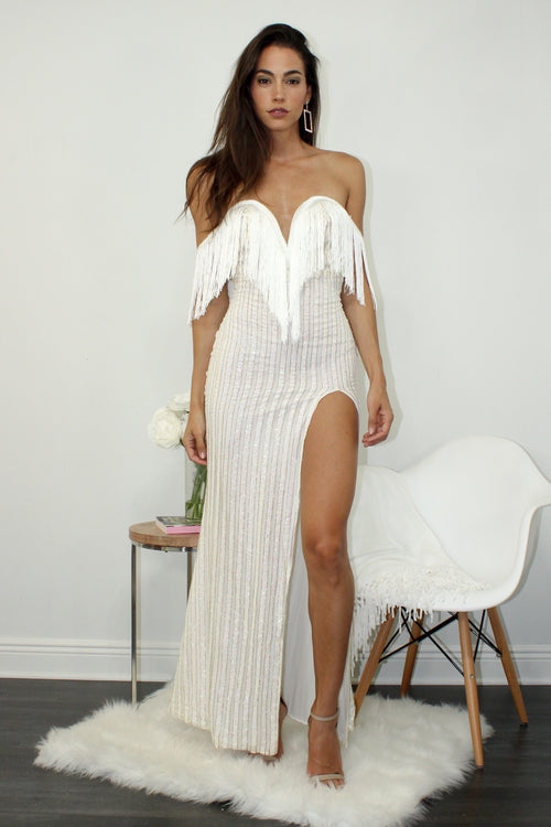 Life is a Party White Tassel  Dress