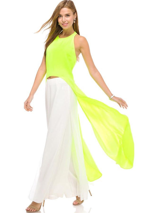 Neon Green Wings Sexy Back Blouse