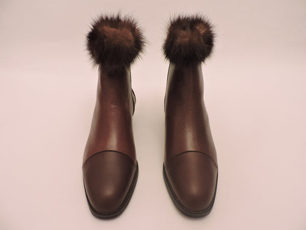 Mink Trimmed Leather Ankle Boots