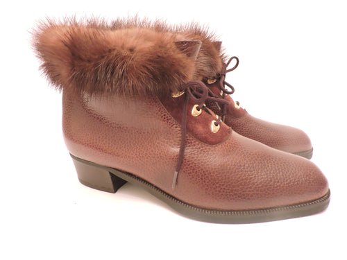Mink Trimmed Leather Lace-Up Ankle Boots