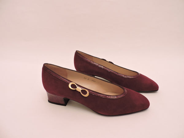Suede And Cocco Trim Pump Shoe