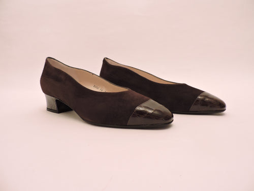 Suede And Cocco Classic Block Heel Pump Shoe
