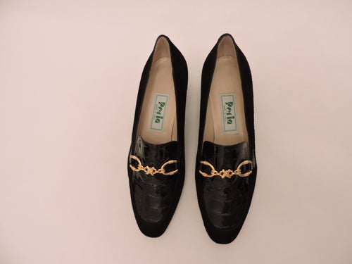 Suede And Cocco Classic Snaffled Pump Shoe