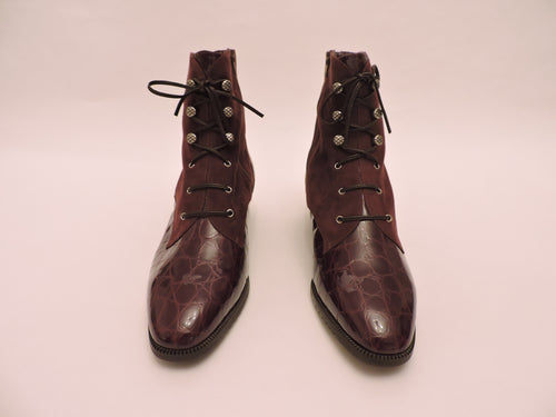 Suede And Cocco Stamped Patent Leather Lace Up Ankle Boot
