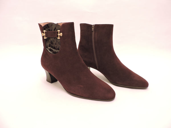 Suede And Cocco Stamp Leather Ankle Boots