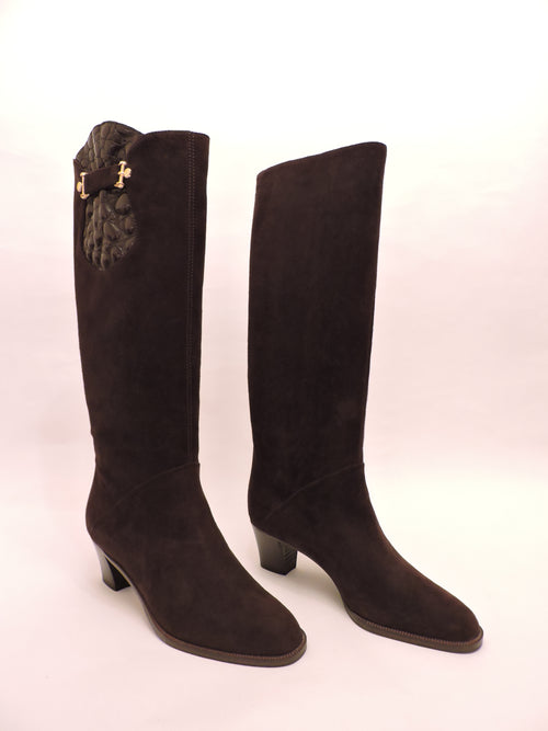 Classic Pull-on Suede And Cocco Stamped Patent Leather Boot